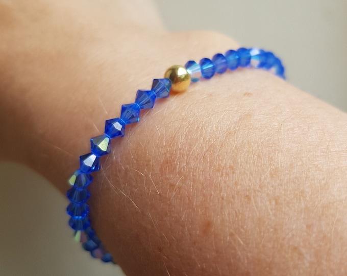 Sapphire Blue AB Swarovski crystal stretch bracelet Sterling Silver or Gold Fill tiny beaded bracelet - September Birthstone jewellery gift