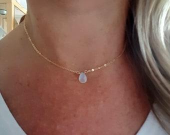 18K Gold Fill TINY Moonstone choker necklace genuine white teardrop gemstone layering June Birthstone jewellery minimalist Jewellery gift