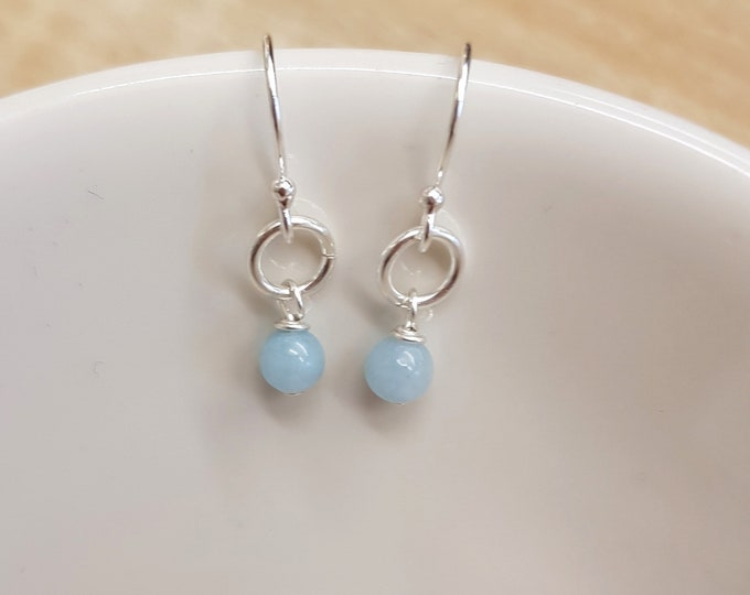 Tiny Aquamarine earrings Sterling Silver hooks small Aquamarine drop earrings blue gemstone jewelry March Birthstone jewellery gift for girl