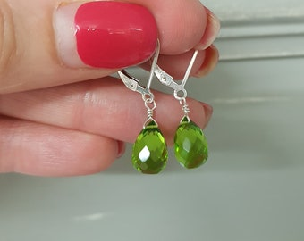 Sterling Silver Peridot earrings or Gold Fill leverback wire wrapped small green teardrop earrings August Birthstone jewellery gift for mum