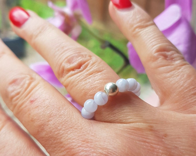 BLUE LACE AGATE Ring Sterling Silver stretch ring or Gold Fill beaded light blue gemstone bead ring stacking ring chakra jewellery gift