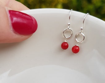 Tiny Red Coral earrings Sterling Silver stud small Coral drop earrings red gemstone jewelry Chakra healing yoga jewellery gift for girl