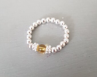 STERLING SILVER Citrine stretch ring or Gold Fill - November Birthstone jewellery - chakra yogagift