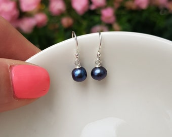 Tiny Blue black Freshwater pearl earrings Sterling Silver 18K Gold Fill small real pearl drop earrings 5-6mm Peacock pearl jewellery gift