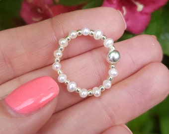 Tiny Freshwater Pearl ring Sterling Silver or Gold Fill real white seed pearl beaded stretch ring real pearl stacking jewellery jewelry gift