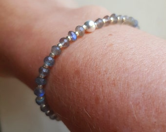 Labradorite stretch bracelet Sterling Silver or Gold Fill small 4mm tiny faceted AAA gemstone bead bracelet bracelet Healing Jewellery gift