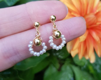Tiny Freshwater pearl drop earrings 14K Gold Fill or Sterling Silver stud AA white real seed pearl earrings dainty bridal jewellery gift