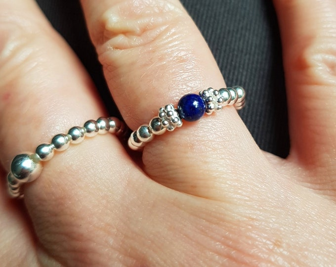 Tiny Lapis ring Sterling Silver September Birthstone jewellery gift blue gemstone ring beaded stretch ring stacking Lapis Lauzuli jewelry