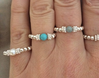 Sterling Silver Turquoise stretch ring - December BIRTHSTONE - stacking jewelry jewellery gift