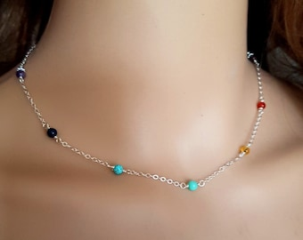 Sterling Silver 7 chakra choker necklace or Gold Fill tiny 4mm wire wrapped RAINBOW multi gemstone bead YOGA Chakra jewelry jewellery gift
