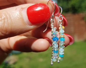 Sterling Silver Ethiopian Opal earrings or Gold wire wrapped tiny blue Welo Opal gemstone earrings October birthstone jewellery gift for her