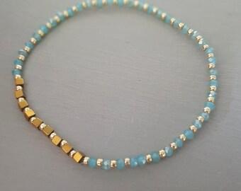 Aqua crystal stretch bracelet tiny gold gemstone bead bracelet minimal dainty beaded Jewelry gift