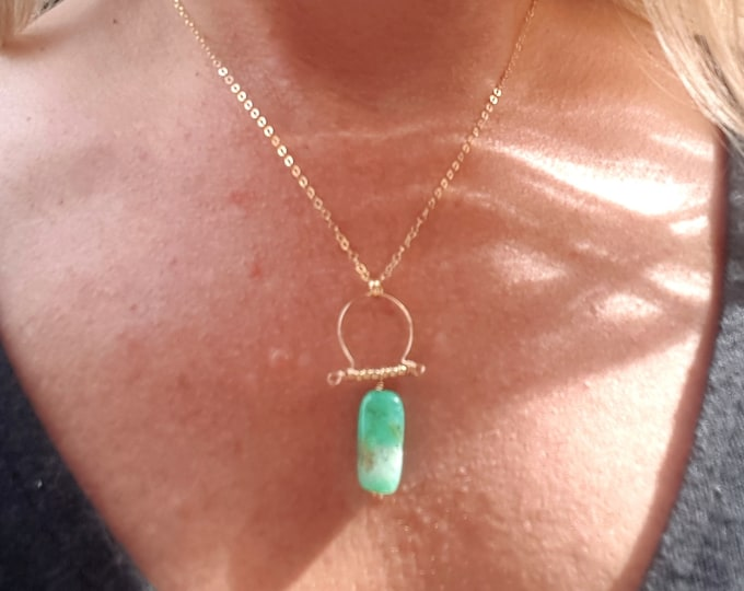 Chrysoprase pendant necklace 18K Gold Fill RAW green gemstone wire wrapped necklace Heart Chakra healing May Birthstone OOAK jewelry gift