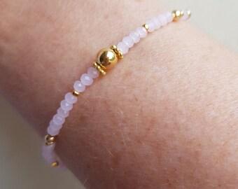 Tiny Pink crystal stretch bracelet 14K Gold Fill 3mm Pink Opal beaded bracelet stacking bracelet skinny seed bead bracelet boho jewelry gift