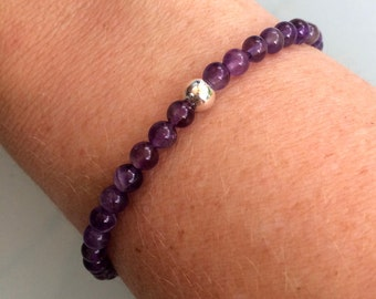AMETHYST stretch Bracelet Sterling Silver bead tiny purple gemstone Bracelet, small Chakra Bracelet, February Birthstone jewelry jewellery