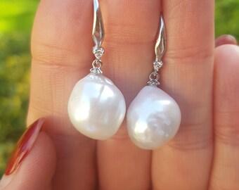 Large Baroque pearl earrings Sterling Silver big white Freshwater pearl drop earrings real classic pearl earrings jewellery gift for her mum