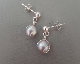 Grey Baroque Freshwater pearl earrings Sterling Silver pearl drop earrings wire wrapped pearl earrings small real pearl earring gift for mum