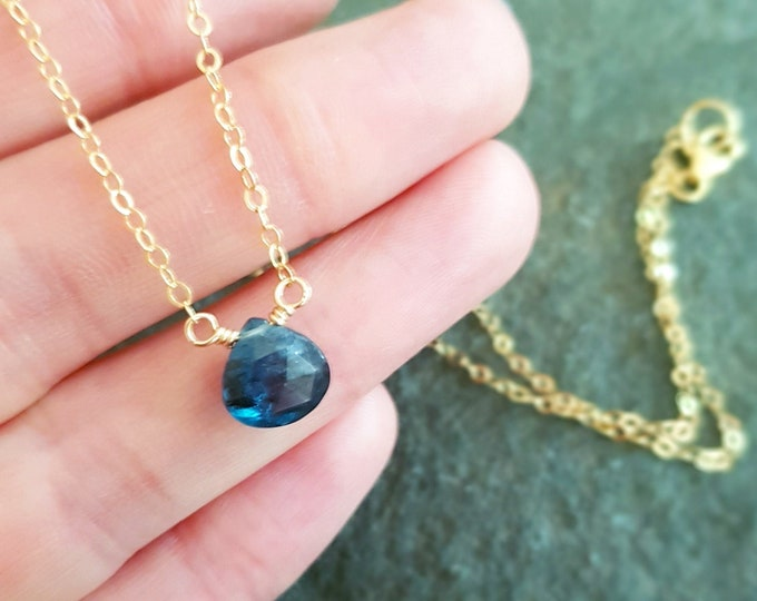 18K Gold fill Kyanite necklace choker or Sterling Silver tiny blue crystal gemstone necklace simple pendant Chakra Moss Kyanite jewelry gift