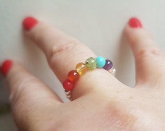 Rainbow gemstone ring Sterling Silver tiny bead stretch ring 4mm small beaded ring LGBT ring Chakra Boho jewellery Pride Lesbian NHS gift