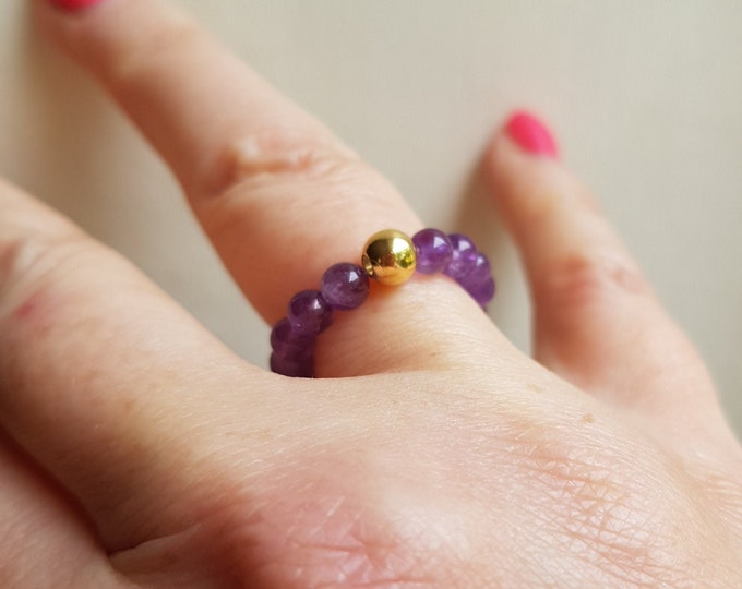 AMETHYST STRETCH ring Sterling Silver or Gold Fill beaded purple gemstone ring bead stacking February Birthstone jewellery crown CHAKRA gift