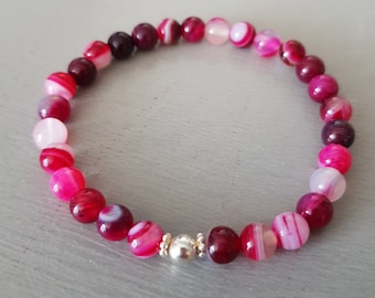 PINK AGATE STRETCH Bracelet Sterling Silver or Gold Fill small 6mm fushia pink gemstone bead bracelet Boho stacking jewelry Arthritis gift