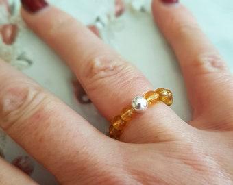 CITRINE stretch ring STERLING SILVER beaded yellow gemstone ring Boho stacking ring Citrine jewelry chakra November Birthstone jewelry gift