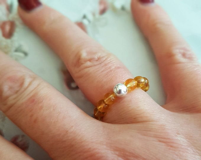 CITRINE stretch ring STERLING SILVER beaded yellow gemstone ring Boho stacking ring Citrine jewelry chakra November Birthstone jewelry gift