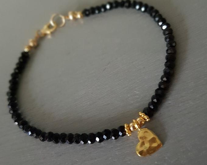 Black Spinel bracelet 18K Gold Fill  or Sterling Silver hammered heart tiny 3mm black gemstone bead bracelet beaded jewellery layering gift