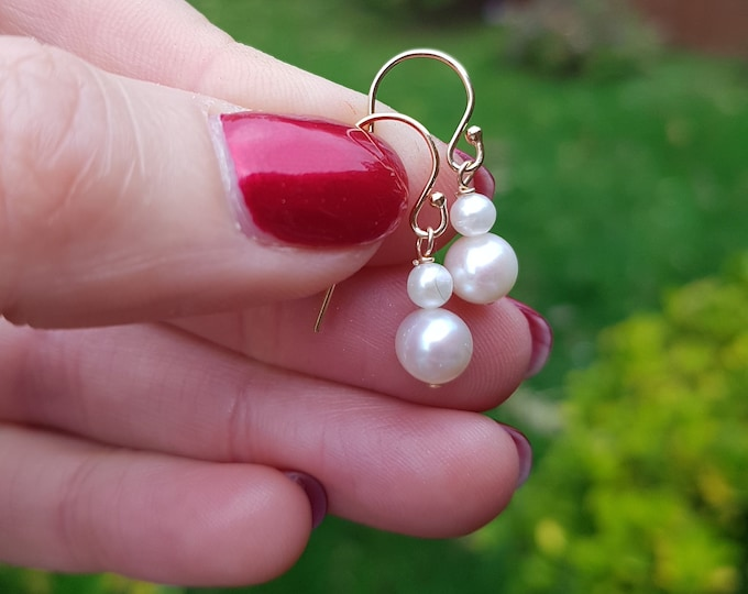 14K Gold Fill double Freshwater pearl drop earrings - bridal earrings - June Birthstone - gift boxed for her