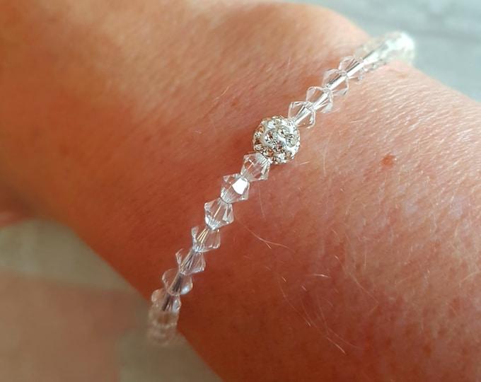 Clear Swarovski crystal bracelet or AB crystal stretch bracelet 4mm tiny bead bracelet BEADED Swarovski jewellery stacking jewelry gift