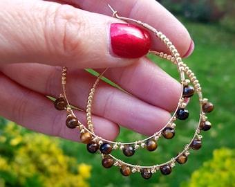 18k Gold Fill brown Tigers eye hoop earrings 4mm tiny gemstone bead wire wrapped earrings golden Boho Tiger Eye Chakra healing jewelry gift