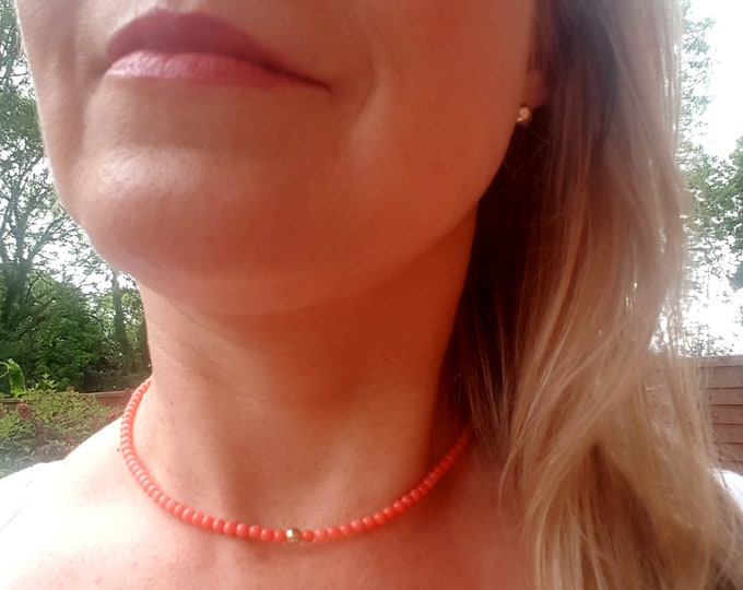 Tiny pink Coral necklace choker Sterling Silver Gold Fill Coral 4mm bead necklace real gemstone beaded necklace Chakra jewelry healing gift