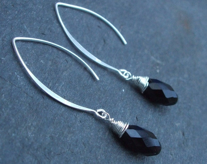 Black Swarovski crystal teardrop earrings on long Sterling Silver hooks lever backs or studs wire wrapped black or AB crystal earrings