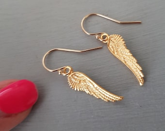 Gold Fill Angel wing earrings small Gold Angel wings earrings simple dainty Gold earrings pretty jewellery gift for her teenage girl