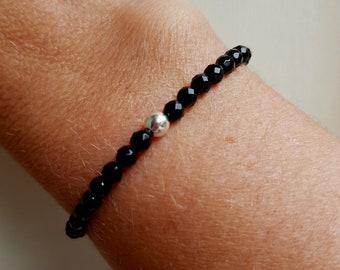 Black Onyx stretch Bracelet Sterling Silver or Gold Fill Small black GEMSTONE bead Bracelet 4mm beaded stacking Bracelet Chakra jewelry gift