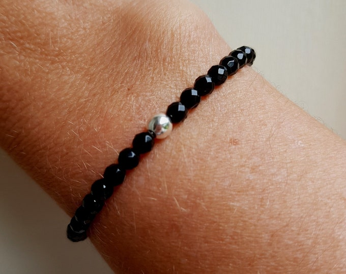 Black Onyx stretch Bracelet Sterling Silver or Gold Fill Small black GEMSTONE bead Bracelet 4mm beaded stacking Bracelet Chakra jewelry gift