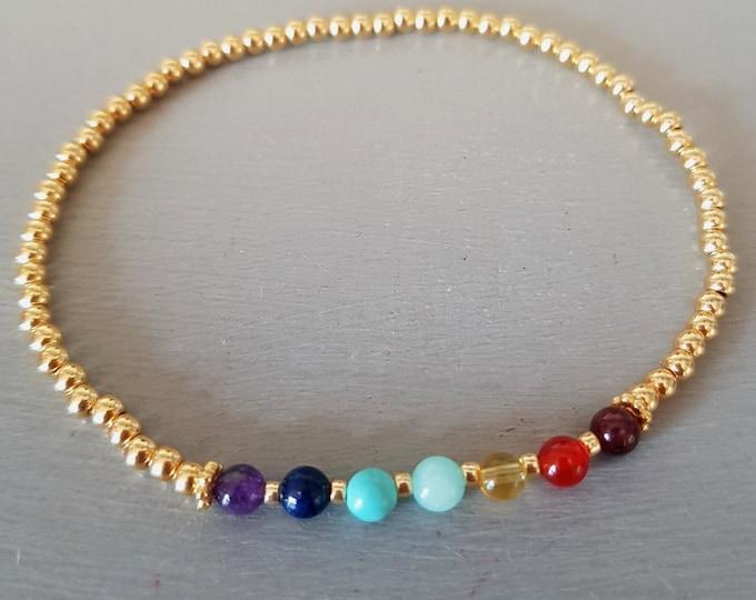 7 CHAKRA Bracelet 14K Gold Fill tiny gemstone bead Bracelet 4mm small beaded stretch Bracelet YOGA bracelet Chakra jewelry Boho jewellery