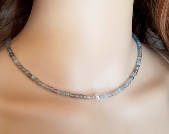 Labradorite choker necklace Sterling Silver grey Labradorite beaded gemstone necklace real tiny 4mm Labradorite bead necklace jewelry gift