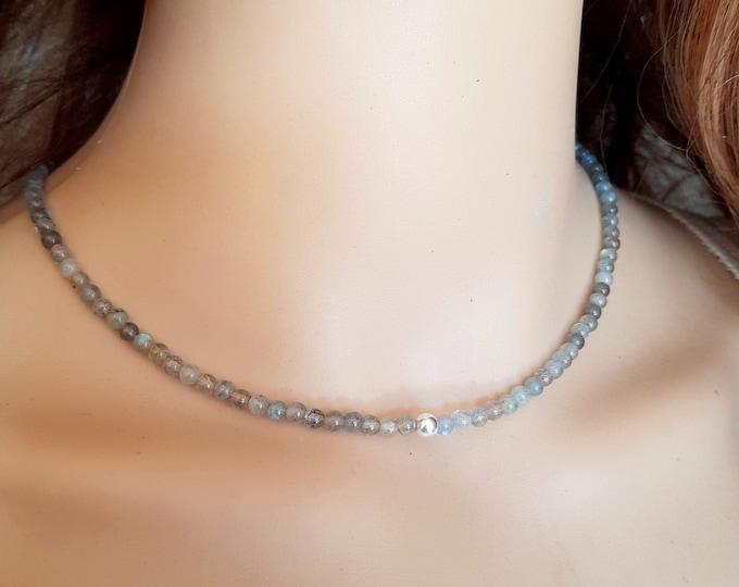 Labradorite choker necklace Sterling Silver grey Labradorite beaded gemstone necklace real tiny 4mm Labradorite bead necklace jewelry gift