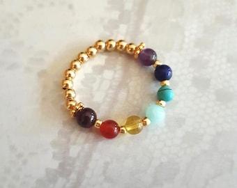 7 CHAKRA ring 14K Gold Fill tiny multi gemstone bead ring small beaded stretch ring YOGA Chakra jewelry Boho jewellery Rainbow Healing gift