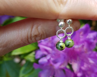 Chrysoprase earrings Sterling Silver stud small green gemstone drop earrings jewelry natural May Birthstone jewellery gift for girl