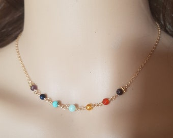 Gold Fill 7 Chakra necklace choker or Sterling Silver tiny 4mm wire wrapped RAINBOW multi gemstone bead YOGA 7 Chakra jewelry jewellery gift