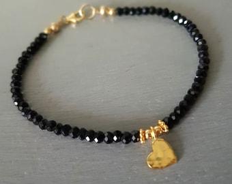 Tiny Black Spinel bracelet 18K Gold Fill  or Sterling Silver hammered heart 3mm black gemstone bead bracelet beaded jewellery layering gift