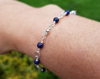 Tiny LAPIS Bracelet Sterling Silver 4mm blue gemstone Bead Bracelet beaded Rosary wire wrap September Birthstone jewelry gift healing yoga