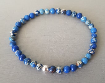 Blue Jasper bracelet Sterling Silver or Gold Fill tiny 4mm blue gemstone bead bracelet small Beaded stretch bracelet heart Chakra jewellery