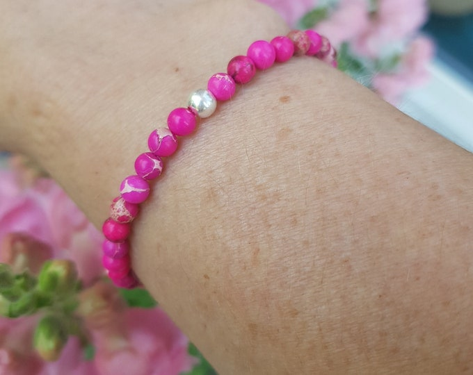 Pink Jasper bracelet Sterling Silver or Gold Fill tiny 4mm hot pink gemstone bead bracelet small Beaded stretch bracelet Yoga jewellery gift