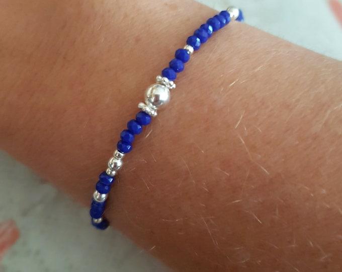 Tiny blue crystal stretch bracelet Sterling Silver small Saphhire blue beaded bracelet skinny seed bead stacking bracelet boho jewelry gift