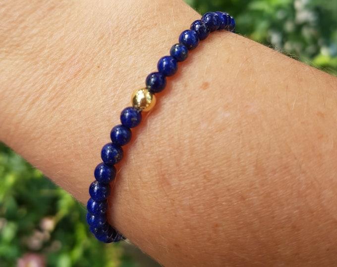 Blue Lapis LAZULI stretch Bracelet 14K Gold Fill / Sterling Silver 4mm tiny gemstone bead bracelet Lapis jewelry jewellery  Boho chakra gift