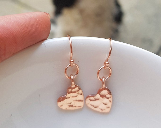 24K Rose Gold hammered heart earrings small Rose Gold fill heart earrings simple Gold earrings Rose gold heart earrings jewelry gift for her