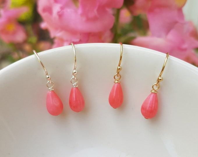 Tiny pink Coral earrings Sterling Silver or Gold Fill small Coral tear drop earrings pink gemstone jewellery Chakra jewelry gift for girl